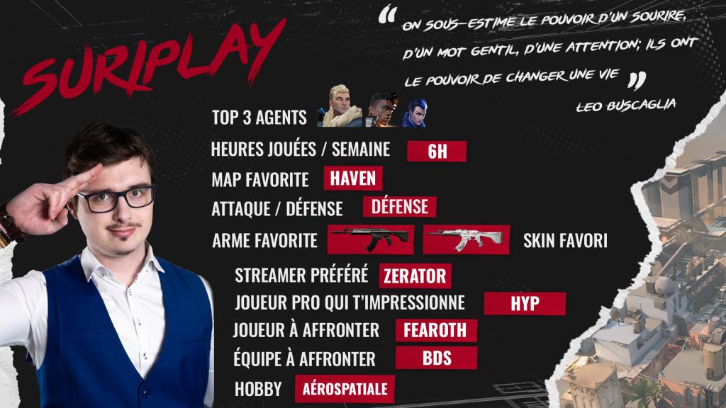 Le Profil de Suriplay, caster Valorant - mandatory fiche joueur Suriplay - Mandatory.gg